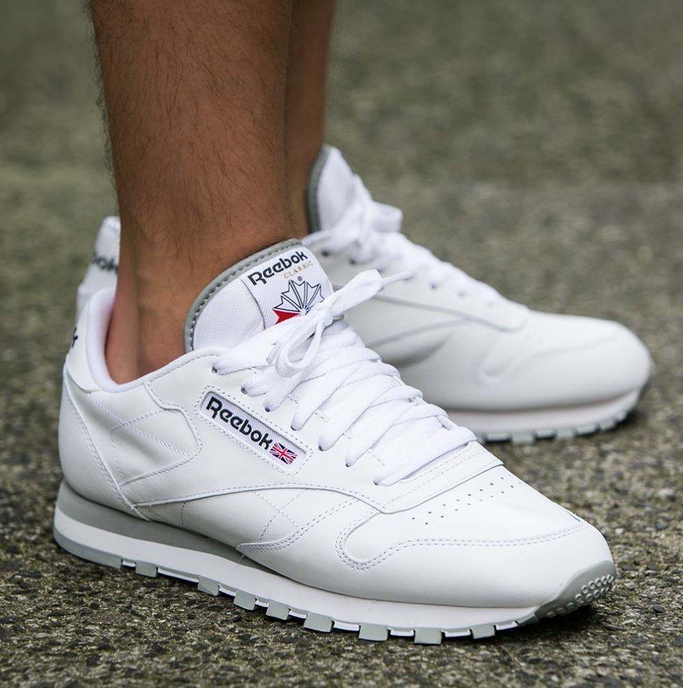 ... reebok classic leather white grey ...