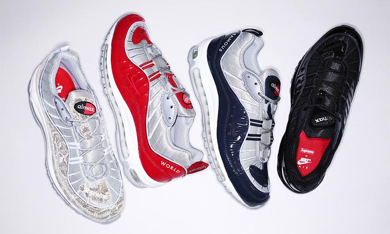 f4ca0007 Поддержку стопы в кроссовках Supreme x Nike Air Max 98 обеспечивает  классическая ортопедическая стелька. Брендинги, размещенные на заднике и  специальной ...