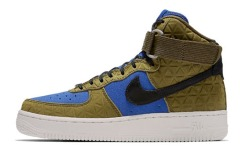 "Кроссовки Оригинал Nike Air Force 1 Hi Premium Suede ""Olive/Blue"" (845065-300)"