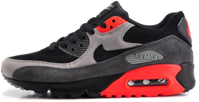 "Кроссовки Nike Air Max 90 Premium ""Black/Medium Ash/Total Crimson"", EUR 41"