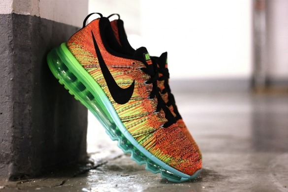 "Кроссовки Nike Flyknit Air Max - ""Orange - Green"", EUR 41"