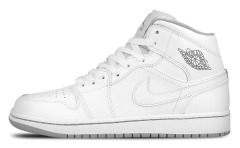"Кроссовки Оригинал Nike Air Jordan 1 Mid White ""Wolf/Grey"""
