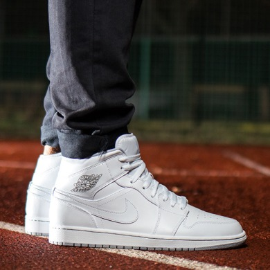 "Кроссовки Оригинал Nike Air Jordan 1 Mid White ""Wolf/Grey"", EUR 42"